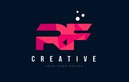 Logo de lettre de rf R F avec le bas poly concept rose pourpre de triangles Images libres de droits