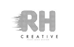 Logo de lettre de Rhésus R H avec les points et les traînées noirs Photos libres de droits