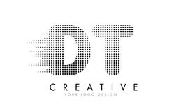 Logo de lettre du décollement D T avec les points et les traînées noirs Images libres de droits