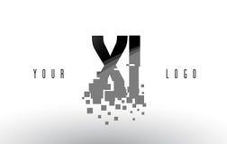 Logo de lettre du pixel XI X I avec les places noires brisées par Digital Photo stock