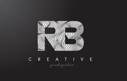Logo de lettre du RB R B avec des lignes vecteur de zèbre de conception de texture Photographie stock