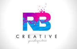 Logo de lettre du RB R B avec la texture rose bleue cassée brisée Desig Photo stock