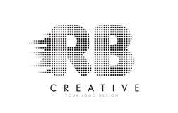 Logo de lettre du RB R B avec les points et les traînées noirs Image stock