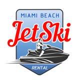 Logo de location de Jet Ski d'isolement sur le fond blanc Image stock
