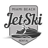 Logo de location de Jet Ski d'isolement sur le fond noir Image stock