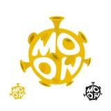 Logo de lune Emblème avec la planète jaune Illustration de vecteur Image stock