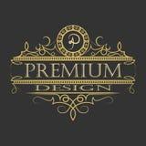 Logo de luxe de conception florale d'ornement Photo stock
