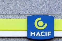 Logo de Macif sur un mur Images libres de droits