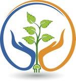 Logo de main de puissance de sécurité d'Eco Image stock