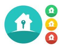 Logo de maison d'immobiliers avec la clé Images libres de droits