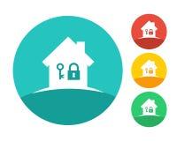 Logo de maison d'immobiliers avec la clé et la serrure Photographie stock