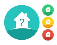 Logo de maison d'immobiliers avec le point d'interrogation Photo stock