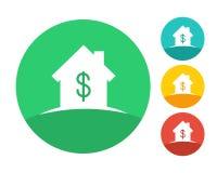Logo de maison d'immobiliers avec le symbole du dollar Images libres de droits