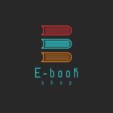 Logo de maquette d'EBook, éducation d'Internet ou icône d'étude, symbole en ligne de livre Photos libres de droits