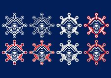 """Logo de mascotte """"de pirate mort """" Logo de mascotte d'équipe Pirat de logo de crâne illustration de vecteur"""