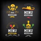 Logo de menu et conception mexicains d'insigne Vecteur avec le graphique Photographie stock libre de droits