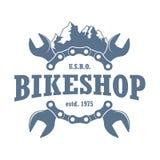 Logo de monochrome d'atelier de réparations de Mountainbikes illustration libre de droits