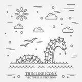 Logo de monstre de Loch Ness Ligne mince icône pour le web design et l'appli Photo libre de droits