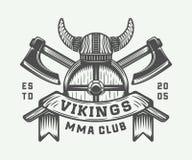 Logo de motivation de Vikings de vintage, label, emblème, insigne Photo libre de droits