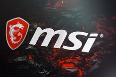 Logo de MSI à la cabine pendant l'ECO 2017 à Kiev, Ukraine Photos stock