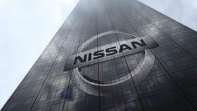 Logo de Nissan sur les nuages se reflétants d'une façade de gratte-ciel, laps de temps Rendu 3D éditorial banque de vidéos