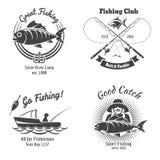 Logo de pêche et ensemble de vecteur de vintage d'emblèmes Image libre de droits