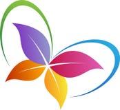 Logo de papillon de feuille illustration de vecteur
