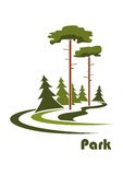 Logo de parc avec des sapins d'american national standard de pins Photo stock