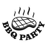 Logo de partie de BBQ, style simple illustration libre de droits