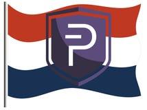 Logo de pièce de monnaie de Pivx sur drapeau néerlandais/néerlandais image stock