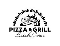 Logo de pizza et de gril avec le four de brique Illustration de Vecteur