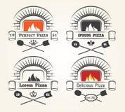 Logo de pizza de four de bois de chauffage Illustration Stock