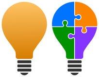 Logo de puzzle d'ampoule Photographie stock libre de droits