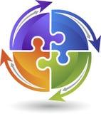 Logo de puzzle de cercle Photo libre de droits