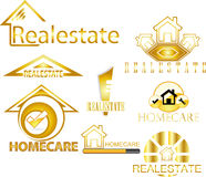 LOGO DE REAL ESTATE - OR illustration de vecteur