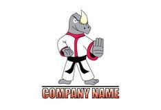 Logo de rhinocéros de karaté Photographie stock