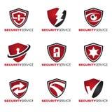 Logo de sécurité - 9 dénomment le ton rouge et noir Image libre de droits