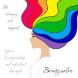Logo de salon de beauté avec la fille dans le profil avec des cheveux d'arc-en-ciel illustration de vecteur