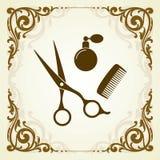 Logo de salon de coiffure avec l'endroit pour le texte Photos stock
