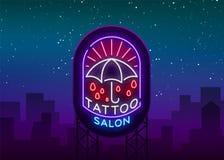 Logo de salon de tatouage dans un style au néon Enseigne au néon, emblème, symbole de parapluie, panneaux d'affichage légers, ban Image libre de droits