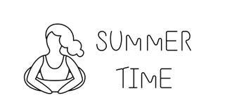 Logo de schéma Femme sur la plage, illustration de vacances de vecteur Images libres de droits