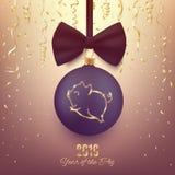 Logo de scintillement de porc sur la boule décorative de Noël, chi 2019 de nouvelle année illustration libre de droits