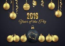 Logo de scintillement de porc sur la boule décorative de Noël, chi 2019 de nouvelle année illustration de vecteur