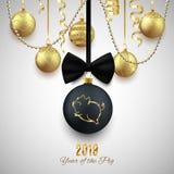 Logo de scintillement de porc sur la boule décorative de Noël, Chinois de la nouvelle année 2019 illustration de vecteur