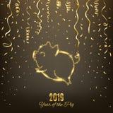 Logo de scintillement de porc, symbole chinois d'horoscope de la nouvelle année 2019, vecteur illustration libre de droits