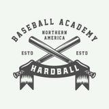 Logo de sport de base-ball de vintage, emblème, insigne, marque, label monochr illustration libre de droits