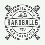 Logo de sport de base-ball de vintage, emblème, insigne, marque, label monochr illustration stock