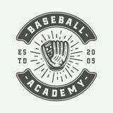 Logo de sport de base-ball de vintage, emblème, insigne, marque, label monochr illustration de vecteur