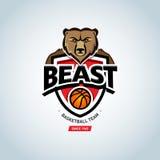 Logo de sport d'ours Calibre de logo de basket-ball, logotype de basket-ball, calibre de conception de logo d'insigne, calibre de Photo libre de droits