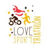 Logo de sport de triathlon d'amour Illustration tirée par la main colorée Image libre de droits